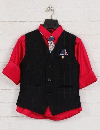 Black and red checks waistcoat shirt