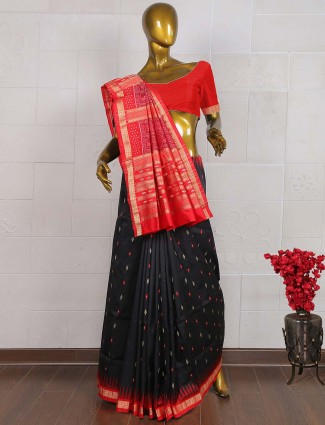 Black and red colored pure south silk wedding saree