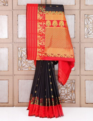Black and red wedding south silk saree