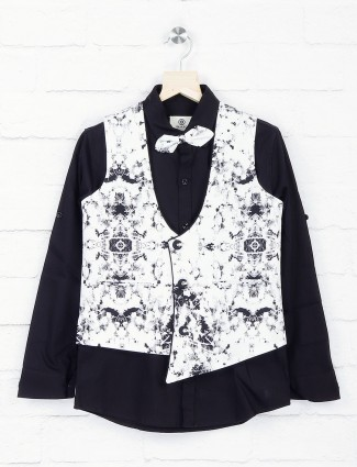 Black and white hue partywear waistcoat