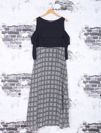 Black and white lycra kurti
