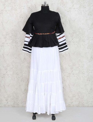 Black and white solid cotton lehenga choli