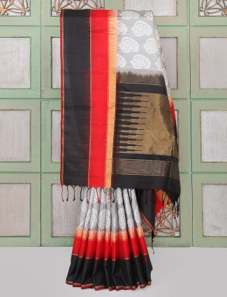 Black and white stylish party wear saree