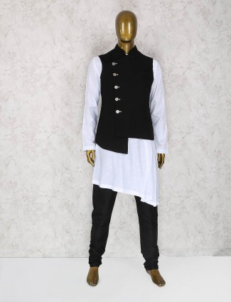 Black and white terry rayon waistcoat set
