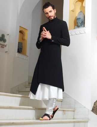 Black and white two piece sherwani
