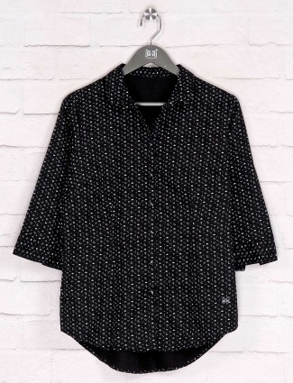 Black casual cotton printed shirt
