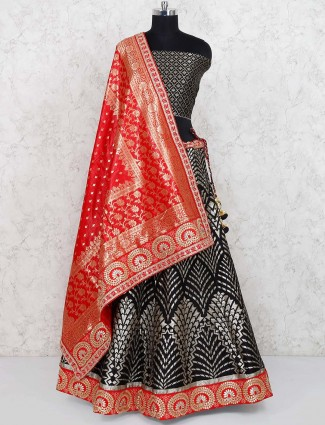 Black color banarasi silk semi stitched lehenga choli