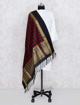 Black color checks pattern silk dupatta