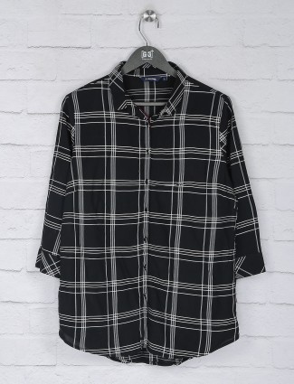 Black color cotton checks chinese neck top