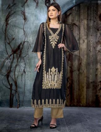 Black color cotton silk designer kurti