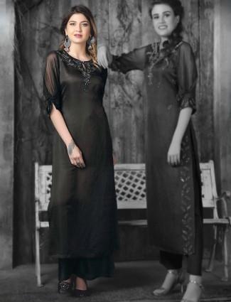 Black color cotton silk fabric kurti