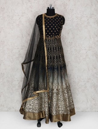 Black color floor length anarkali suit in raw silk