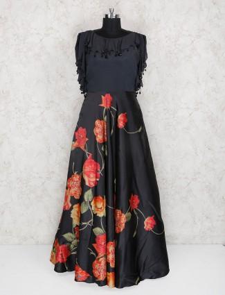 Black color floor length anarkali suit in silk fabric