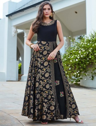 Black colored floor length raw silk fabric anarkali suit