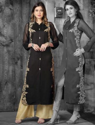 Black color kurti in cotton silk