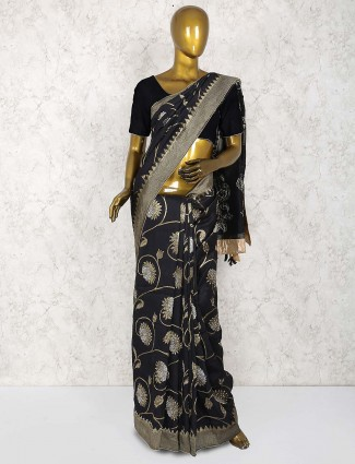 Black color muga silk party saree