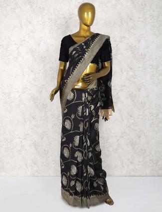 Black color muga silk party saree