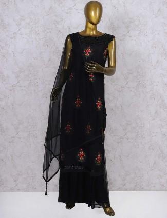 Black color net fabric festive wear palazzo suit