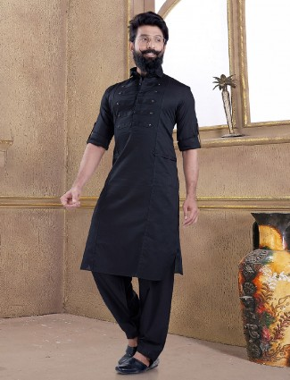 Black color pathani suit