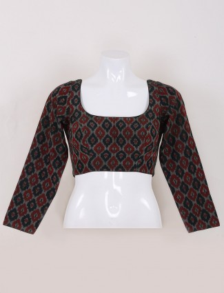 Black color printed ready made blouse