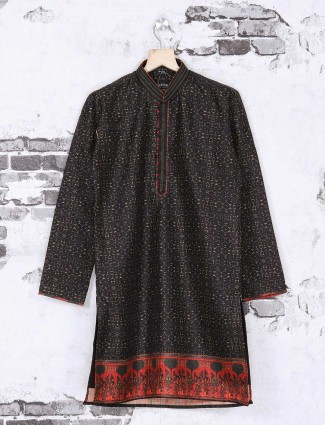 Black color printed silk festive kurta suit