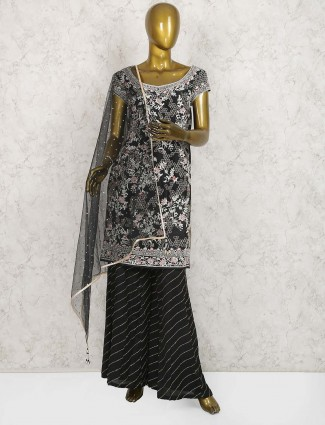 Black color punjabi palazzo suit in raw silk