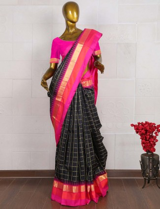 Black color saree in pure banarasi