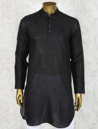 Black color solid linen cotton short pathani