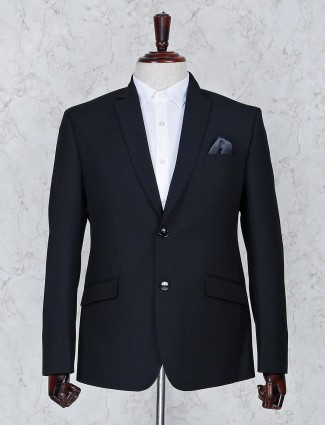 Black color solid terry rayon fabric blazer