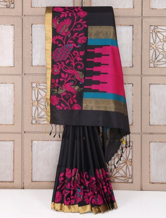 Black color south silk saree