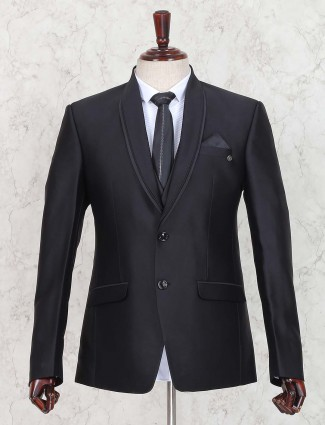 Black color terry rayon fabric coat suit