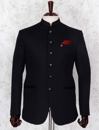Black color textured pattern jodhpuri blazer