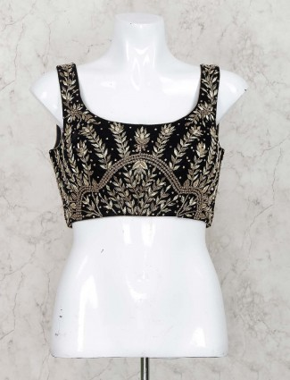 Black color velvet sleeveless ready made blouse