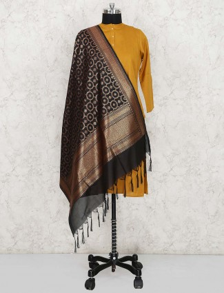 Black colored silk dupatta