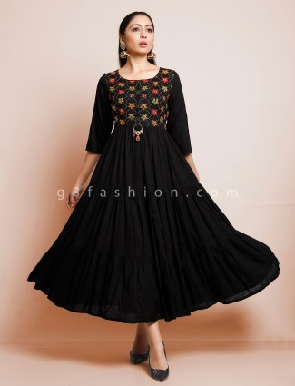 Black cotton designer festive kurti