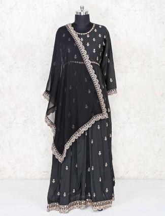 Black cotton festive floor length anarkali suit