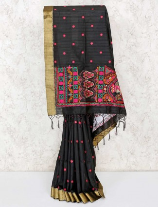 Black cotton festive wear saree