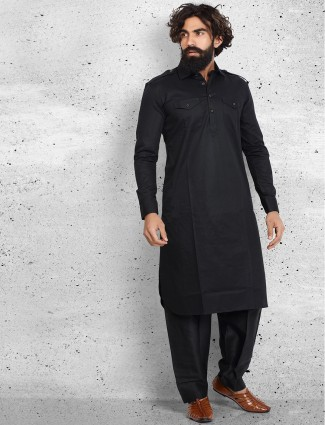 Black cotton plain pathani suit