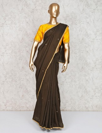 Black cotton saree for festive with ready made blouse