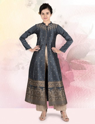Black cotton silk long pant style salwar suit