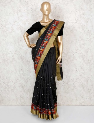 Black cotton silk pretty saree