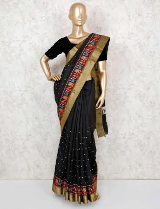 Black cotton silk pretty saree