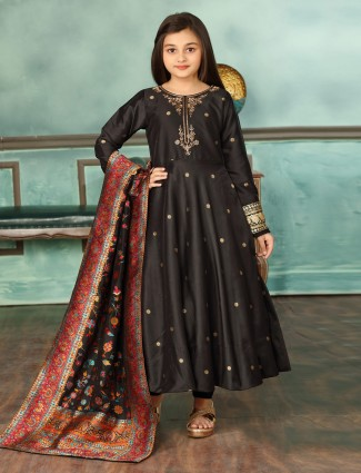Black cotton silk round neck anarkali suit