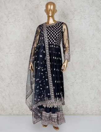 Black designer georgette sharara suit for festive