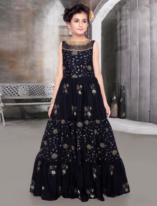 Black georgette festive wear anarkali suit