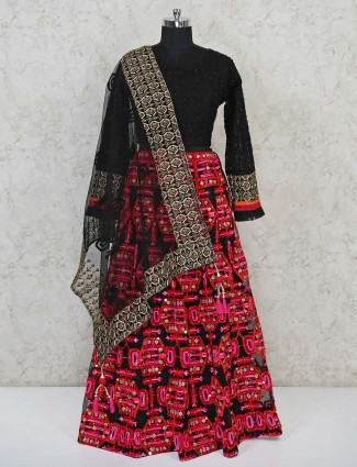 Black georgette party lehenga choli