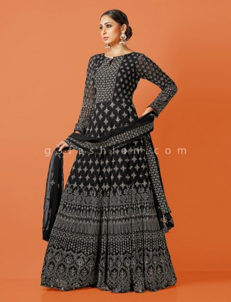 Black georgette round neck anarkali suit