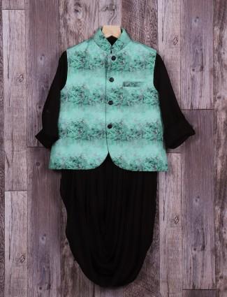 Black green cotton silk waistcoat set