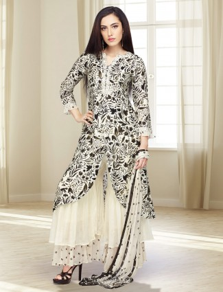 Black hue cotton silk printed punjabi sharara suit
