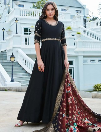 Black hue raw silk fabric floor length anarkali suit